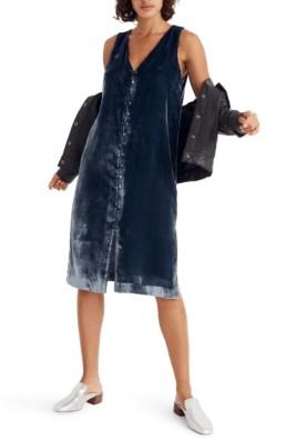 MADEWELL Velvet Button Front Midi Blue Dress