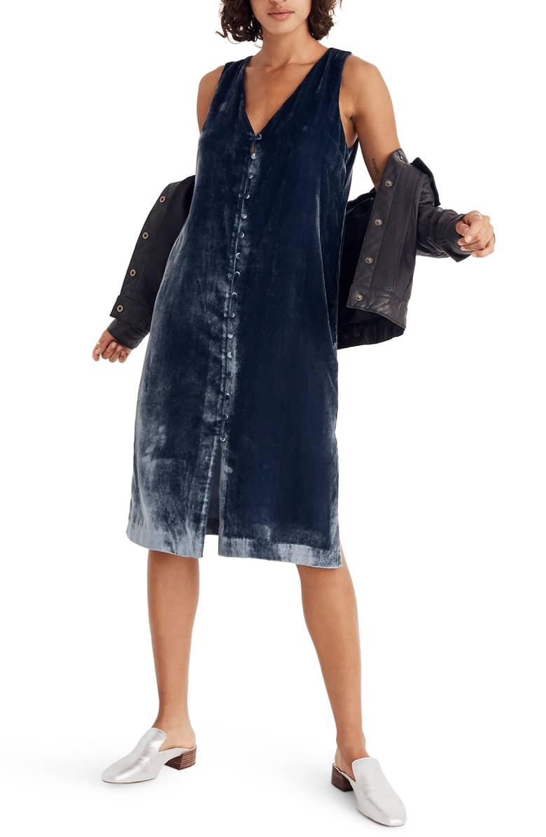 81c54884e8e MADEWELL Velvet Button Front Midi Blue Dress - We Select Dresses