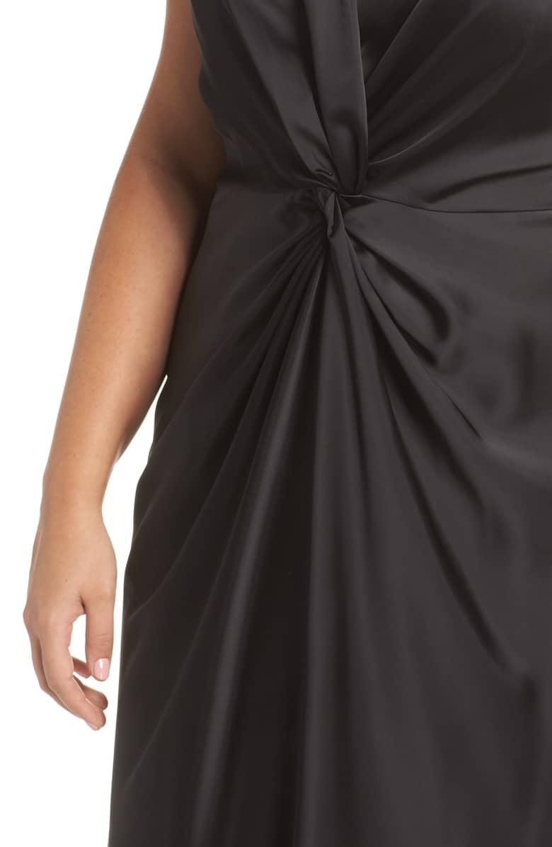 9402c5cf670 MAGGY LONDON Knot Front Satin Black Dress - We Select Dresses