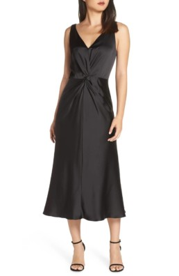 MAGGY LONDON Knot Front Satin Black Dress