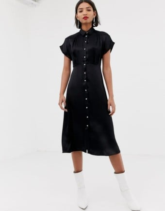 MANGO Midi Button Front Black Dress