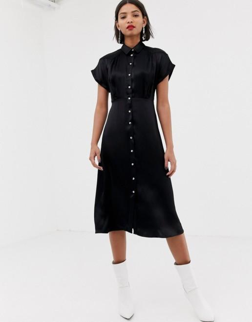 MANGO Midi Button Front Black Dress