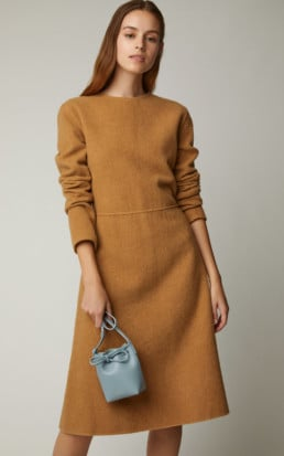 MANSUR GAVRIEL Fluted Cashmere Brown Dress