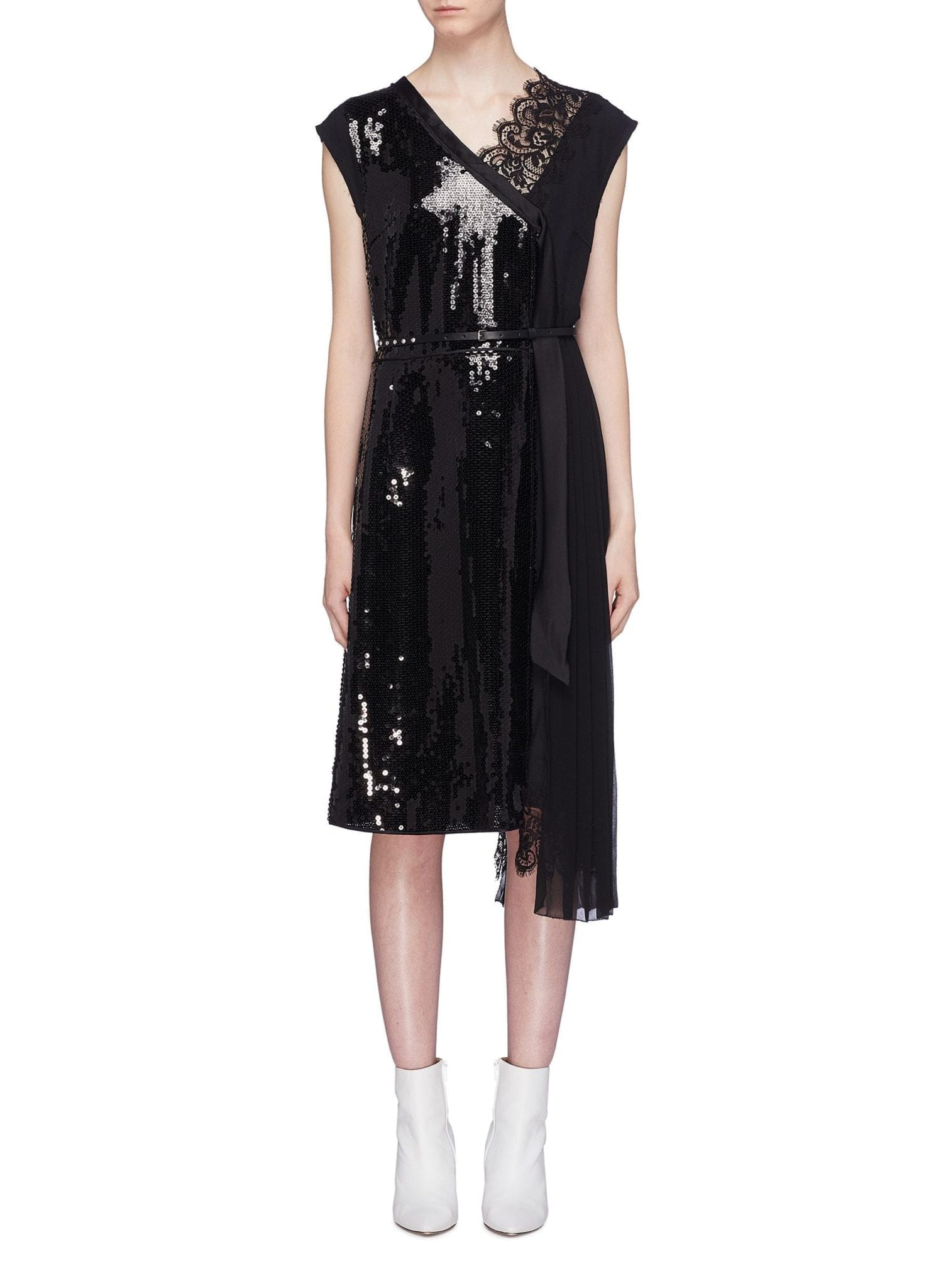 MARC JACOBS Belted Pleated Chiffon Panel Sequin Wrap Black Dress
