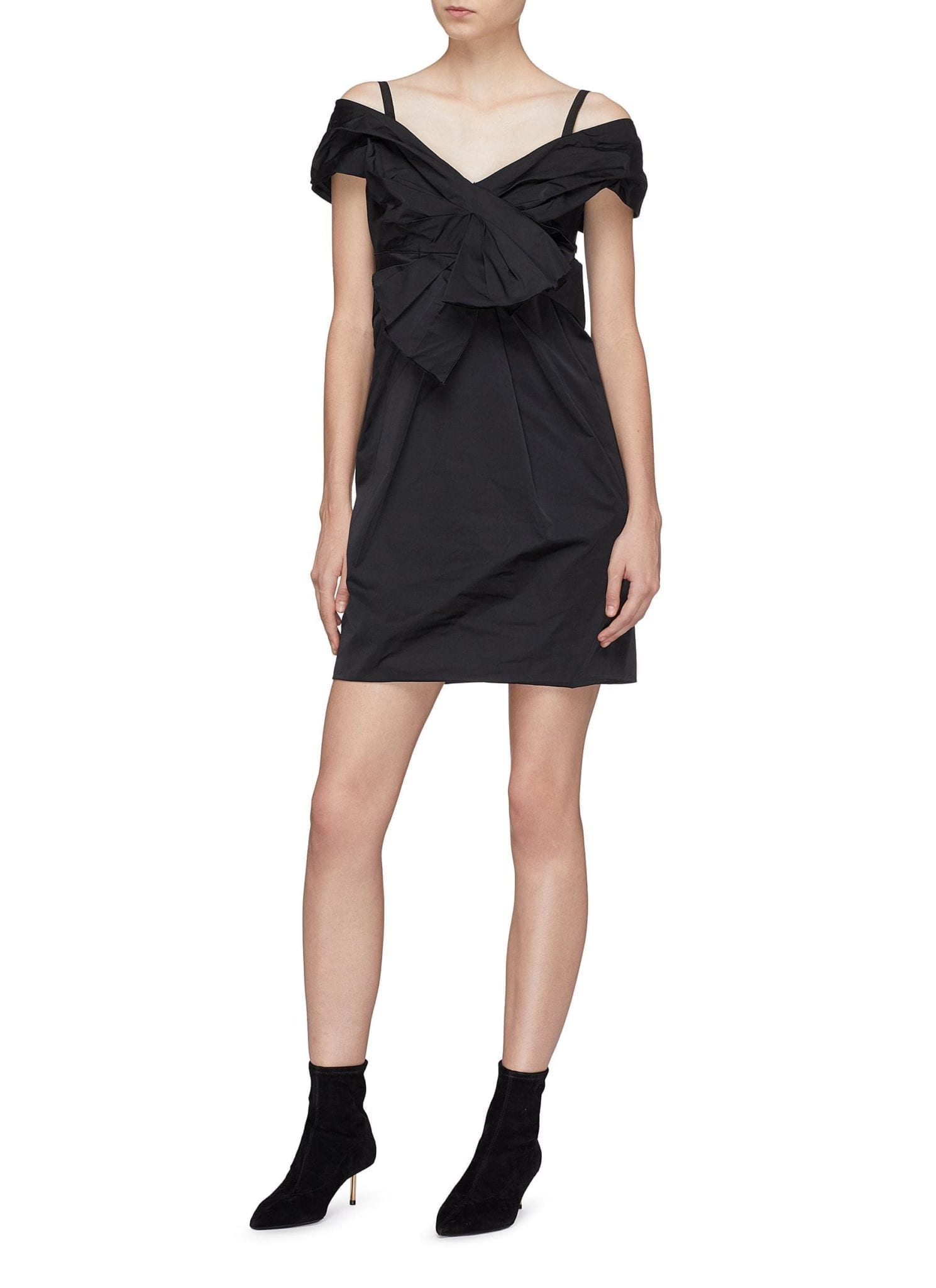 MARC JACOBS Bow Front Pleated Off-Shoulder Black Dress