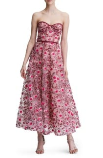 MARCHESA NOTTE Floral Embroidered Strapless Tea Length Blush Gown
