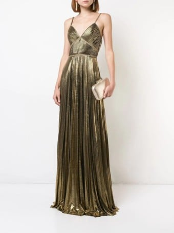 MARCHESA-NOTTE-Metallic-Pleated-Gold-Gown