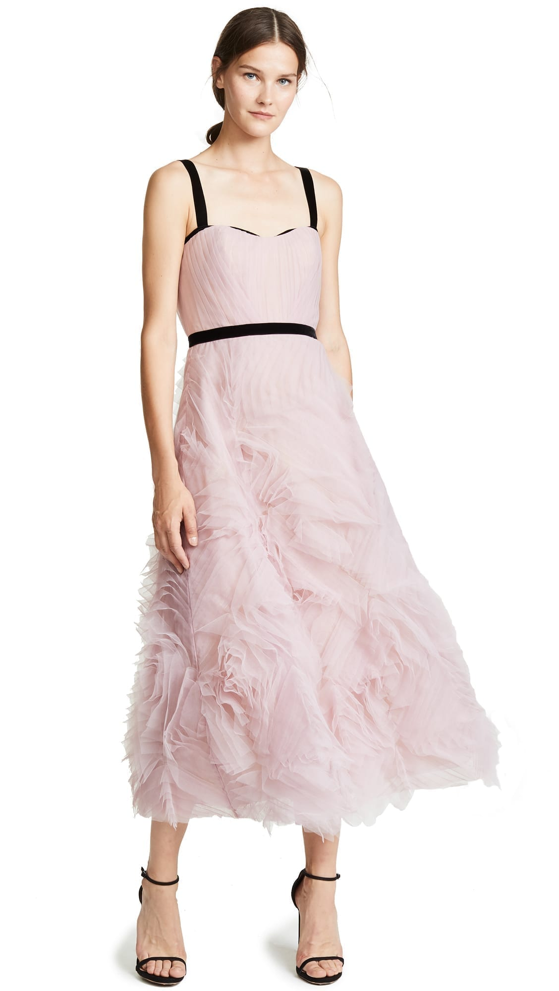 MARCHESA NOTTE Sleeveless Textured Tulle Lilac Gown