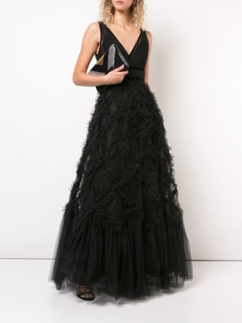 MARCHESA-NOTTE-V-neck-Black-Gown