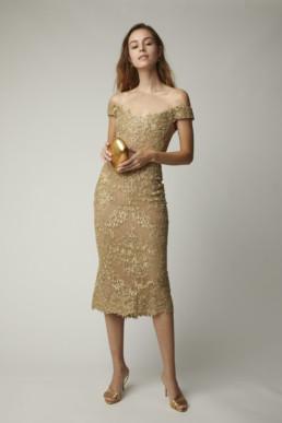 MARCHESA Off-The-Shoulder Metallic Corded-Lace Midi Metallic Dress