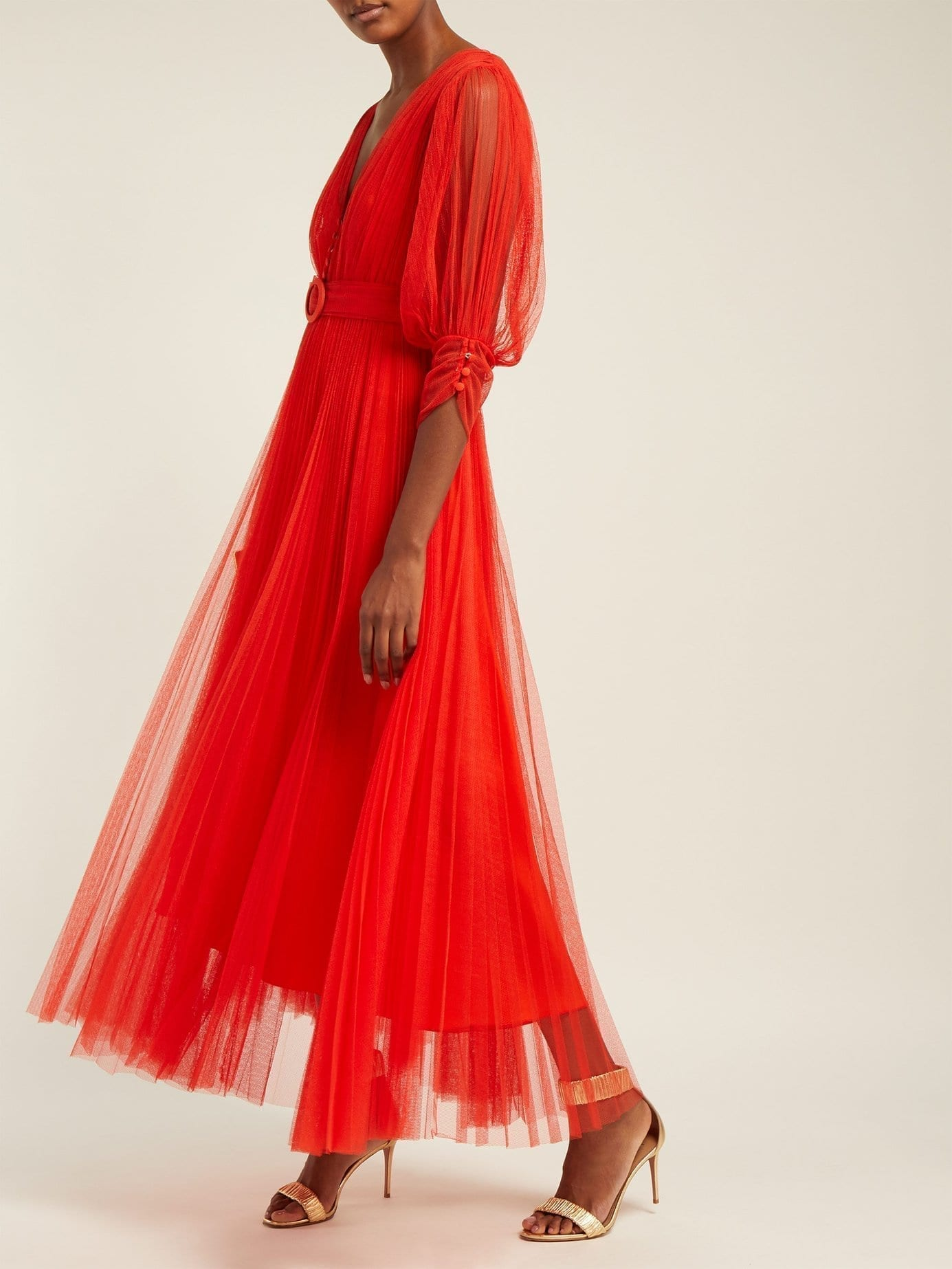 MARIA LUCIA HOHAN Aminah Belted Tulle Red Dress