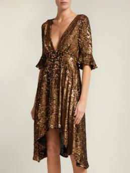 MARIA LUCIA HOHAN Arielle Sequinned Midi Gold Dress