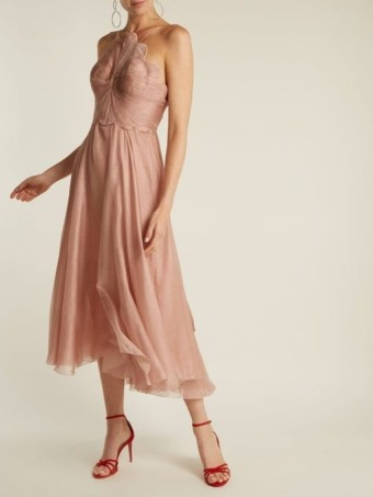 MARIA LUCIA HOHAN Daisy Scallop-Edged Silk-Mousseline Pink Dress