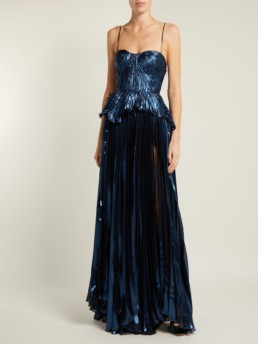 MARIA LUCIA HOHAN Godiva Pleated Silk Blend Blue Gown