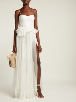 MARIA LUCIA HOHAN Godiva Pleated Silk Blend White Gown