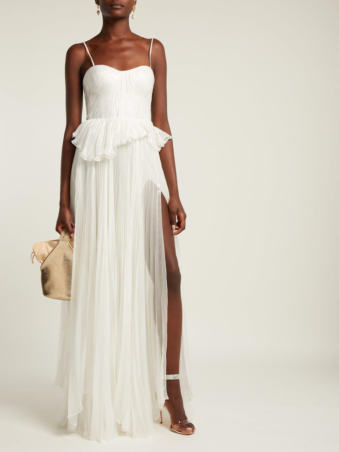 MARIA LUCIA HOHAN Godiva Pleated Silk Blend White Gown