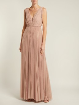MARIA LUCIA HOHAN Leona Pleated Polka Dot Tulle Pink Gown