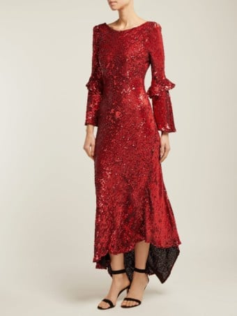MARIA LUCIA HOHAN Polina Asymmetric Sequinned Red Gown