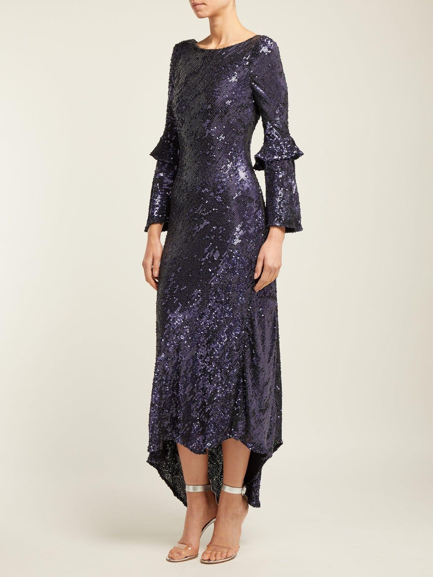 MARIA LUCIA HOHAN Polina Sequinned Chiffon Purple Dress