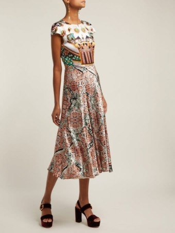MARY KATRANTZOU Caramolengo Jewel Print Silk Multi Dress