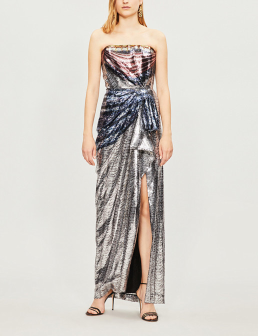 MARY KATRANTZOU Consort Strapless Sequinned Blue / Red Gown