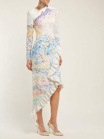 MARY KATRANTZOU Lenda Mountain-Print Asymmetric White Dress