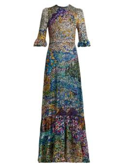 MARY KATRANTZOU Mount Millais Silk-Blend Devoré Multi Gown 2