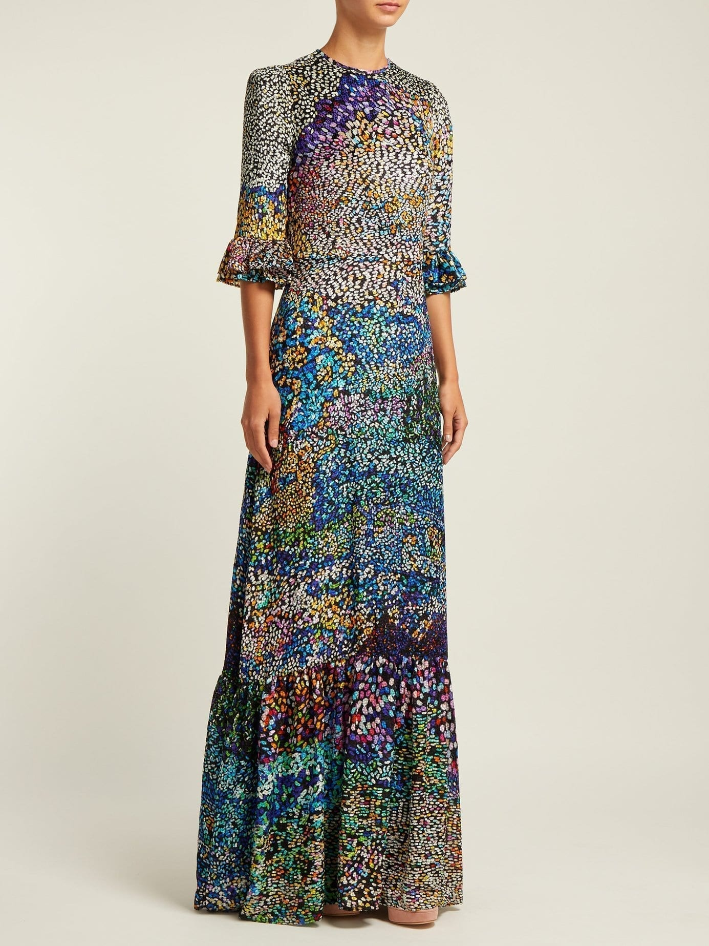MARY KATRANTZOU Mount Millais Silk-Blend Devoré Multi Gown