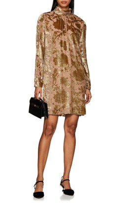 MASSCOB Devoré Velvet Mini Beige / Gold Dress