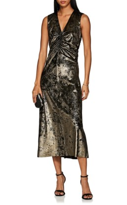 MASSCOB Metallic Velvet Sheath Gold / Black Dress