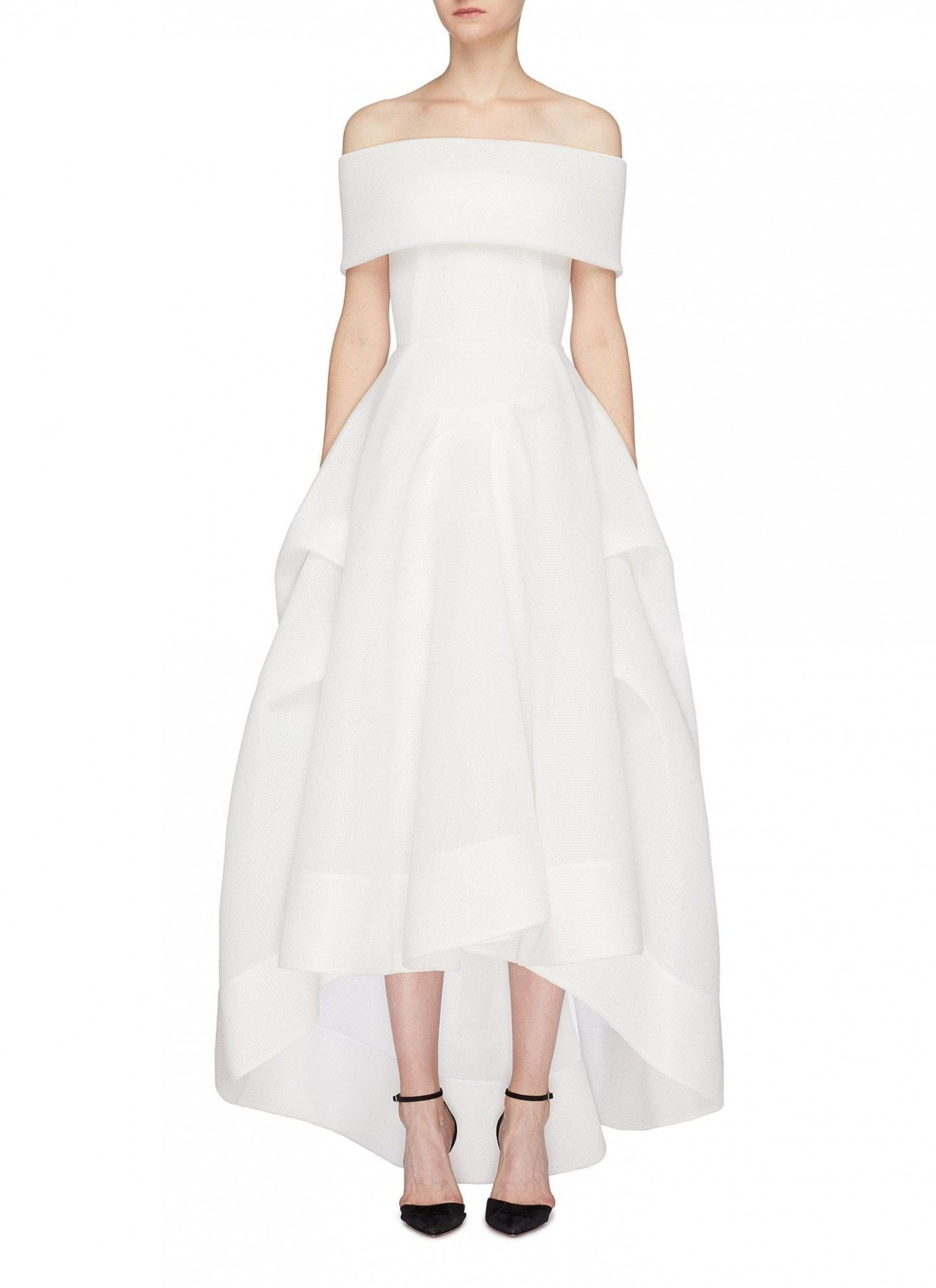 MATICEVSKI 'Thorax' Cutout Off-Shoulder High-Low White Gown