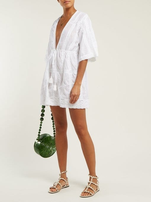 MELISSA ODABASH Jade Crochet Cotton Mini White Dress