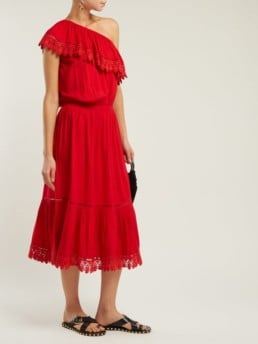 MELISSA ODABASH Jo One-Shoulder Midi Red Dress