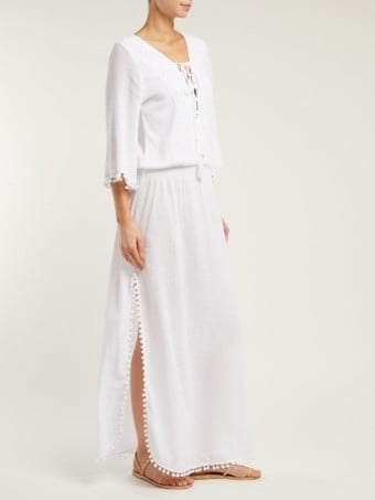 MELISSA ODABASH Kari Side-Slit Cotton-Voile Maxi White Dress