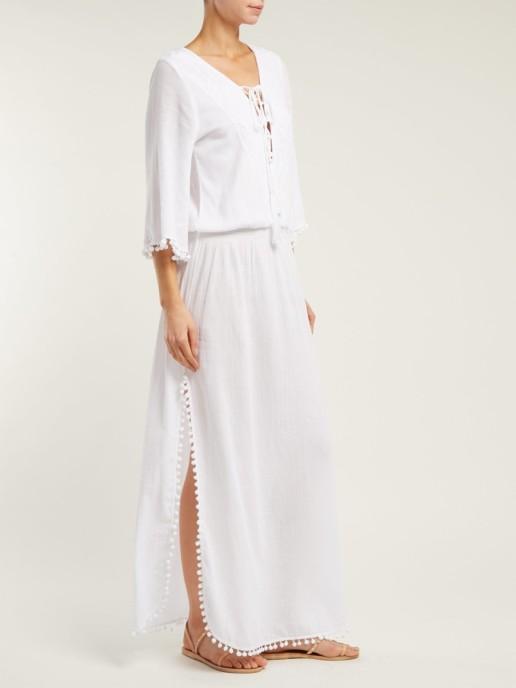 MELISSA ODABASH Kari Side-Slit Cotton-Voile Maxi White Dress