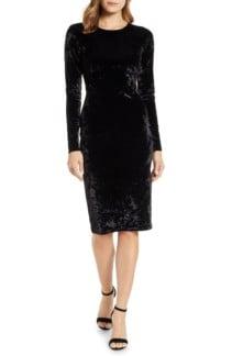 MICHAEL MICHAEL KORS Panne Velvet Sheath Black Dress