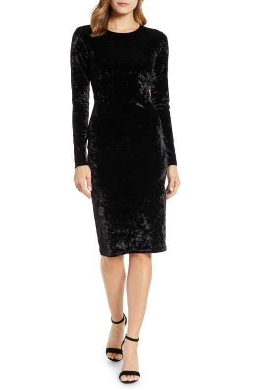 MICHAEL MICHAEL KORS Panne Velvet Sheath Black Dress