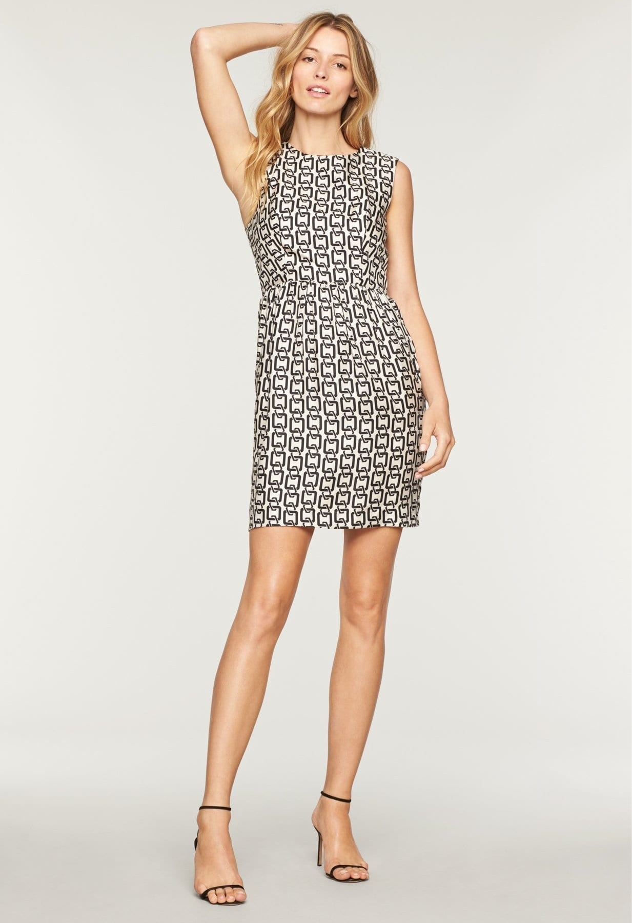 Milly Chain Print Miranda White Black Dress
