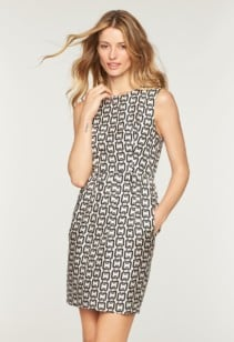 MILLY Chain Print Miranda White / Black Dress