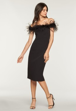 MILLY Italian Cady Elle Feather Black Dress