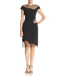 MILLY Lillian Asymmetric Illusion Black Dress