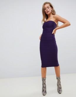 MISSGUIDED Bandage Midi Purple Dress