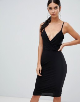 MISSGUIDED Lace Open Back Midi Black Dress