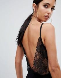 MISSGUIDED Lace Open Back Midi Black Dress