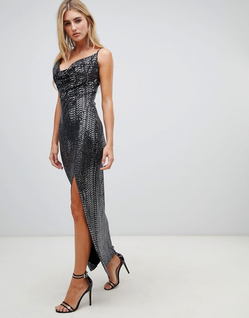 4fa6f2ab972 MISSGUIDED Sequin Cowl Neck Side Split Maxi Black Dress - We Select ...