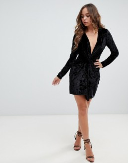 MISSGUIDED Velvet Plunge Mini Black Dress