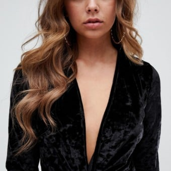 e35aed6bde MISSGUIDED Velvet Plunge Mini Black Dress - We Select Dresses