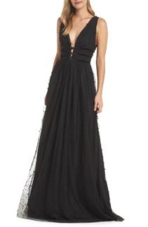 ML MONIQUE LHUILLIER Beaded Mesh Black Gown