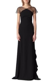 ML MONIQUE LHUILLIER Swiss Dot & Crepe Black Gown