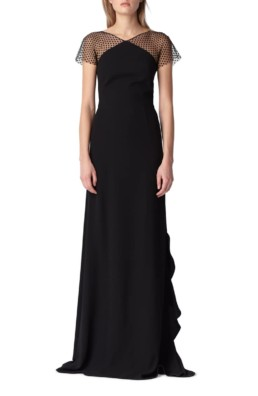ML MONIQUE LHUILLIER Swiss Dot & Crepe Black Gown